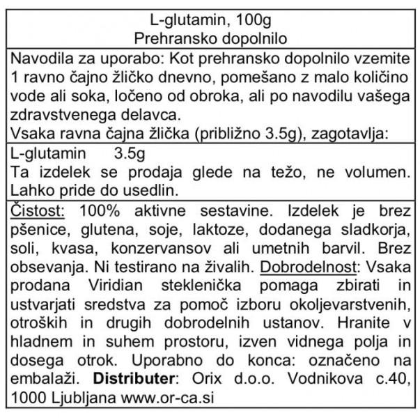 L-Glutamin, Viridian, 100g